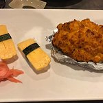 The tamago (egg) was delicious; my wife truly enjoyed it. The volcano roll was odd but tasty.