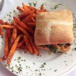 Blackened cod sandwich with sweet potato fries