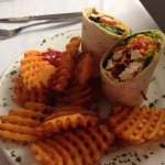 Chicken caesar wrap with waffle fries