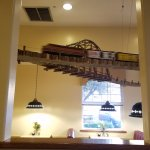One of the trains over a dining area