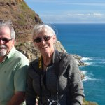 Happy windblown Canadian Travellers, photographed by Rob