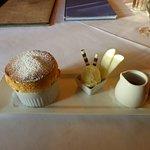 apple crisp souffle, ginger ice cream