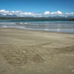 Someone's awesome sand art at Schooner Cove