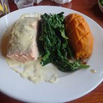 Salmon with dijon sauce, spinach and sweet potato