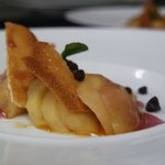 Red Wine poached local apples with Cinnamon Tuiles and Whiskey Caramel
