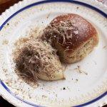 Chicken liver and fois gras parfait, Parker House, truffle
