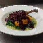 Tudor menu on St. George's Day. Roast Duck in Blackberry Sauce with Butternut Squash and Spinich