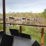 View from balcony to other lodges