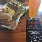 Italian Sandwich with chips. Pale Ale with Mosaics.