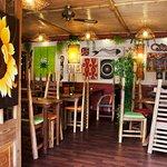 Inside eating area of One World Cafe