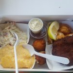 Fried Shrimp, Crab Cake, Cheesy Grits, Coleslaw, Hushpuppies