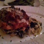 Salmon stuffed with crab imperial over a bed of spinach, artichoke risotto - $36.95