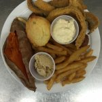 catfish with sweet potato and fries
