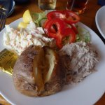 Jacket potato with tuna mayo, a bar meal