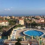 Refurbished pool area, sea view, Vesuvius at dawn, mountain view, suite sitting room, April 17