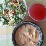 Chicken Cobb Salad, Cranberry Cayenne Lemonade, Broccoli Cheddar Soup