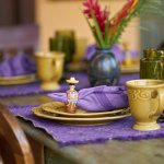 Each breakfast you will be greeted with different  linens and napkin rings from our travels.