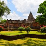 The main entrance gopura to Phnom Rung, to the left, the sanctuary tower to the right
