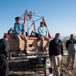 Cappadocia Balloon Ride: The crew and the basket after a perfect landing on the trailer