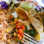 "My ""authentic"" veggie enchilada. I'm sure Mexicans have been using freezer veggie mix for centur"