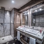 Carrara marble and walk-in shower bathroom