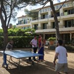 HDLP jardin et détente. Convivialité. Tennis de table à l'ombre des pins.