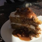 Carrot cake topped with praline sauce - unbelievably delicious!