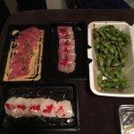 Yellowtail chili shashimi, escolar crudo, bluefin tuna, spicy edamame