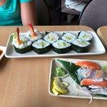 Tempura shrimp sushi & Salmon sashimi