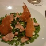Fresh tasting poached salmon with minted crushed peas mmmm