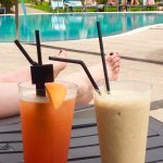 Frappucino and a tequila sunrise. u the pool