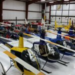 Helicopters in the hangar at Silverhawk Aviation Academy