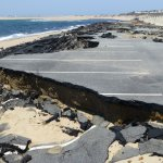 Road damage due to winter storms, Herring Cove Beach, Provincetown