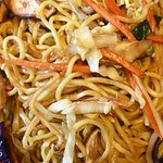 Pork lo mein with mixed vegetables