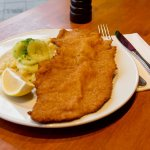 Our signature dish - the viennese schnitzel with potato cucumber salad