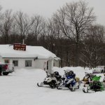 snowmobiling to Quiet Bay Café
