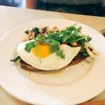 Roasted mushroom and fired egg toast