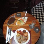 Sunday lunch special lamb, potatoes, stuffing, vegetables and more.