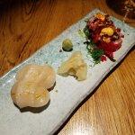 scallop nigiri & salmon(?) roll