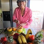 Preparing the Fresh Fruit Platters for Breakfast at Rock Haven