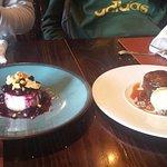 Desserts: cheesecake and chocolate lava