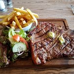 T Bone Steak with Garlic Butter, fries and salad