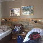 Room with shared bath, comfortable beds and good size room.