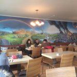 Lovely mural on back wall of dining room