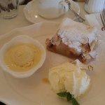 Applestruden with vanilla ice cream.