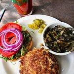 Crab Burger, Bloody Mary Bar, and Collards. Mayfel's