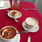Shrimp gumbo, she crab soup, and cornbread