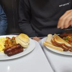 2 eggs with sausages, potatoes, biscuit/toast - huge portions!
