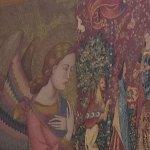 Tapestry behind boar