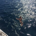 Jumping off the boat into the beautiful Fijian water
